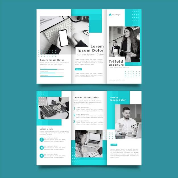 青と白の三つ折りパンフレット印刷テンプレート 無料ベクター