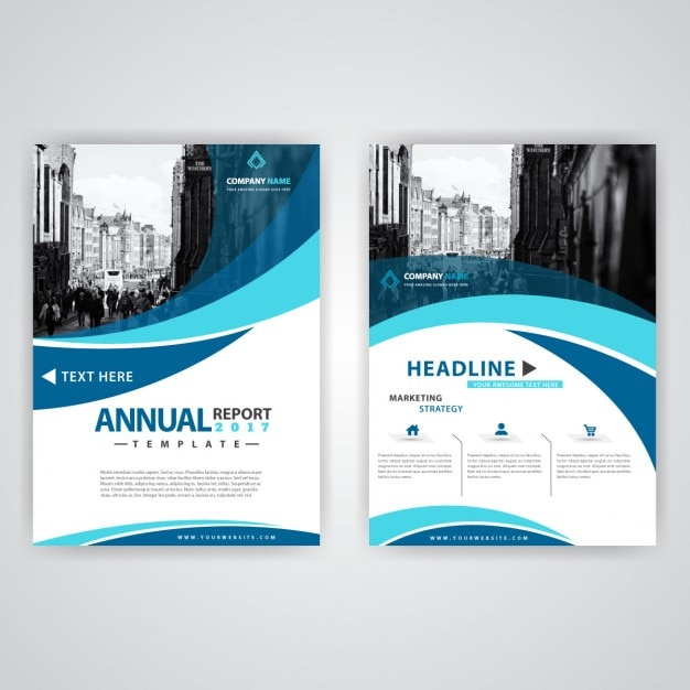 Blue and white wavy brochure Free Vector