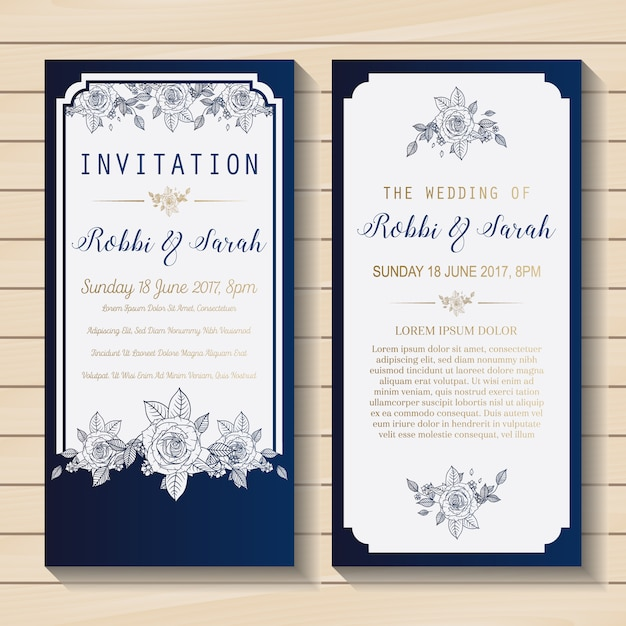 Blue And White Wedding Invitation Vector Free Download
