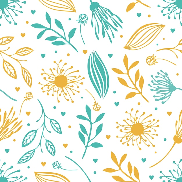 Blue and yellow abstract floral background Free Vector