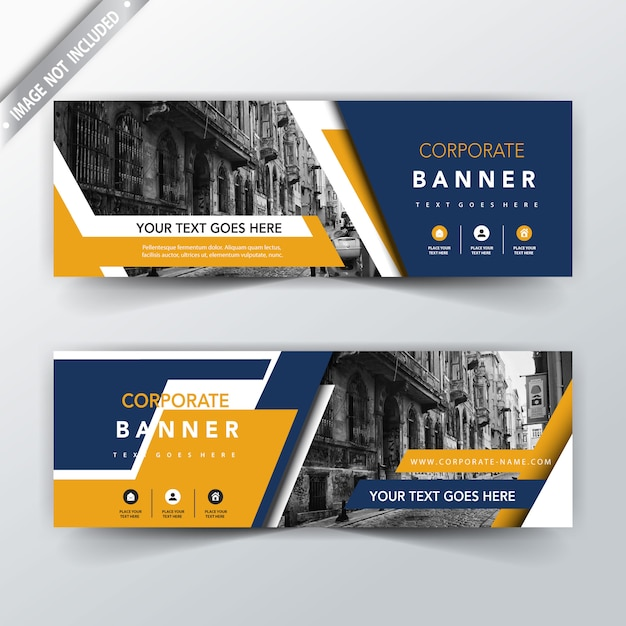 blue and yellow back and front banner templates Free Vector