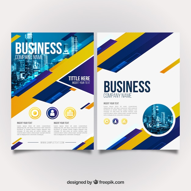 Blue and yellow business brochure Free Vector