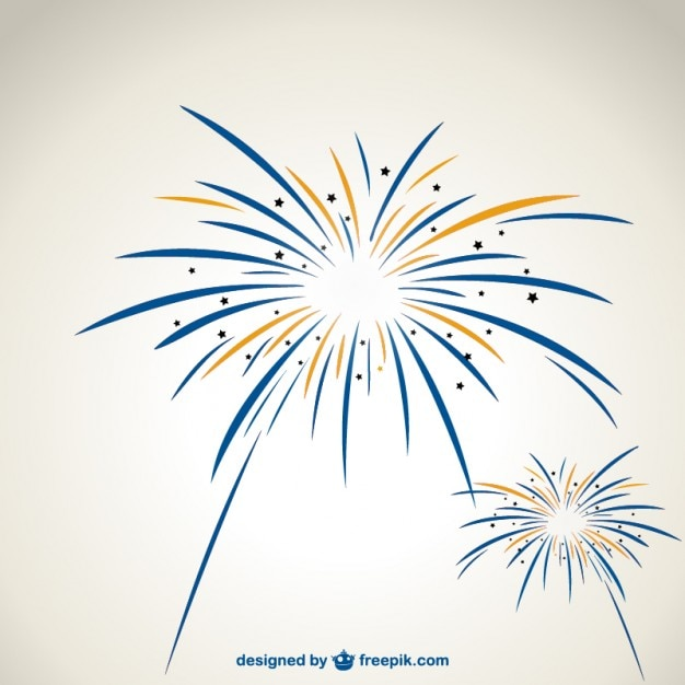 Blue and yellow fireworks Free Vector