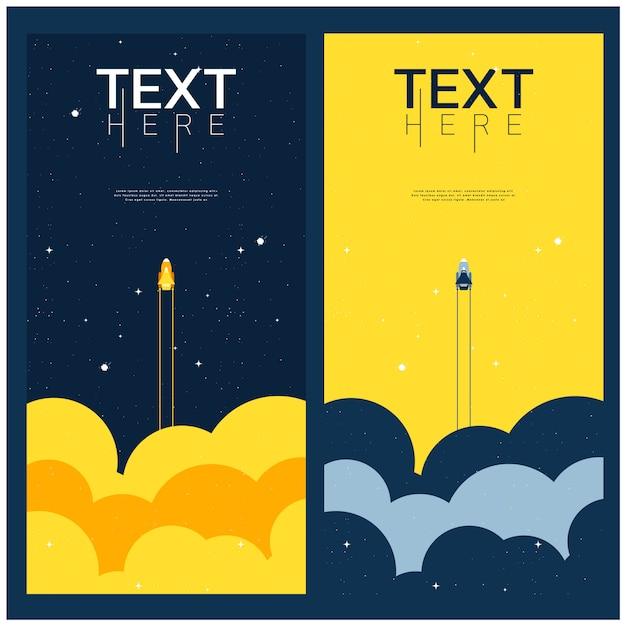 Синие и желтые пространства исследуют вселенную. шаблон обложки Premium векторы
