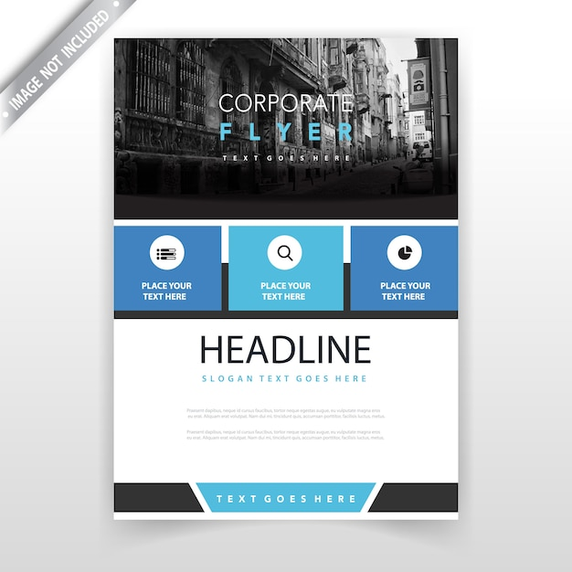 Blue annual report leaflet design Free Vector
