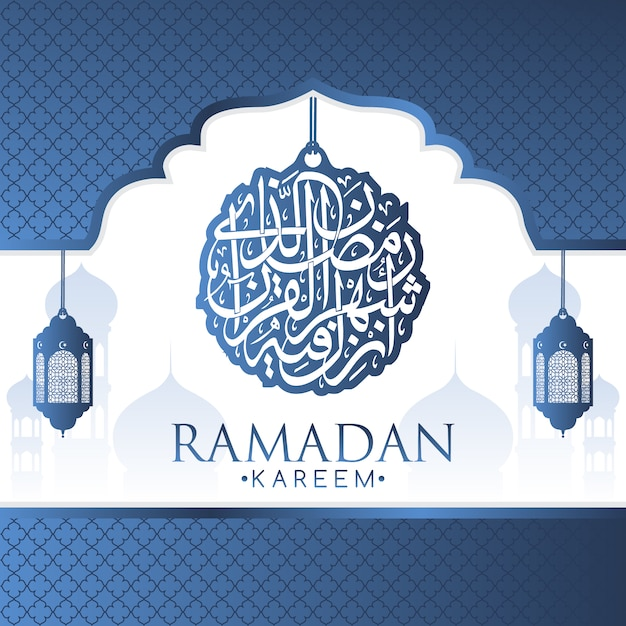 Blue arabic lamps background design Free Vector