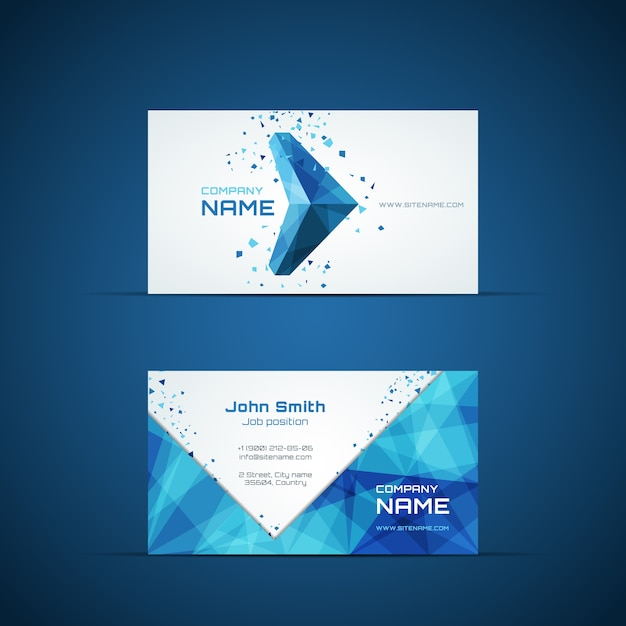 Blue arrow business card template. company name and design, corporate and symbol. vector illustration Free Vector