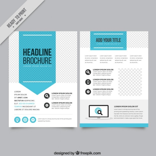 Blue arrow business flyer Free Vector