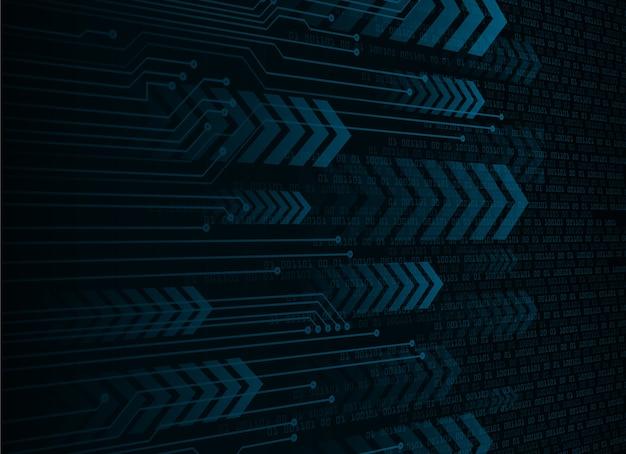 青い矢印サイバー回路の将来の技術概念の背景 Premiumベクター