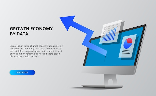 Blue arrow economy growth. financial and infographic data.  computer screen with perspective isometric. Premium Vector