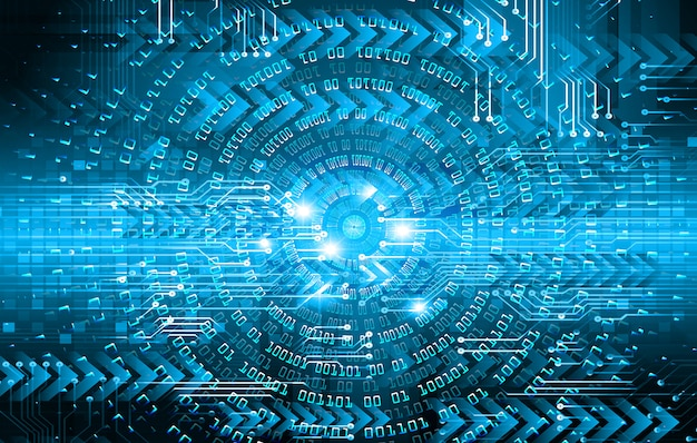 Blue arrow eye cyber circuit future technology concept background Premium Vector