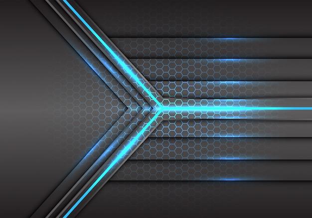 Blue arrow light laser beam power with hexagon mesh background. Premium Vector