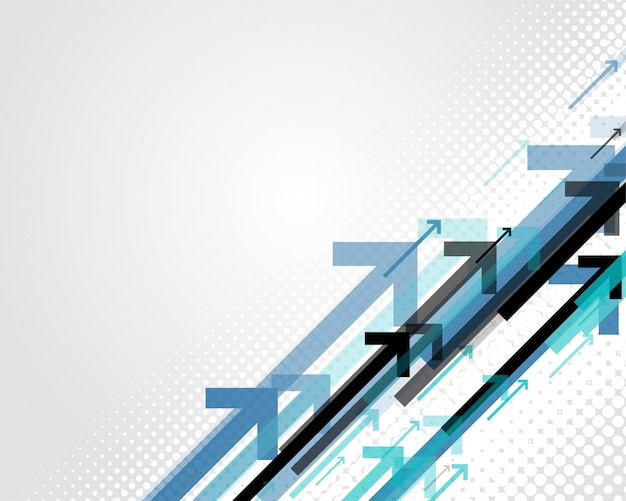 Blue arrows business style background Free Vector