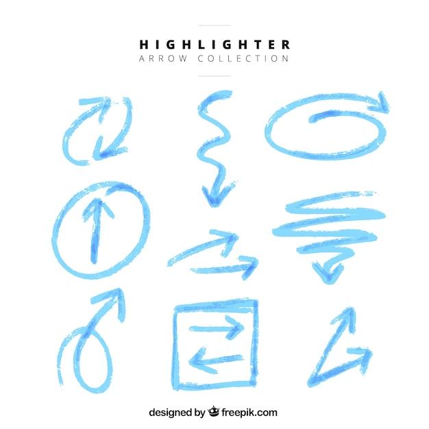 Blue arrows set of highlighter Free Vector