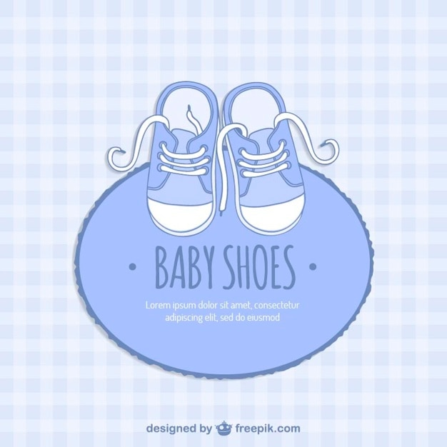 Blue Baby Shoes Card Free Vector