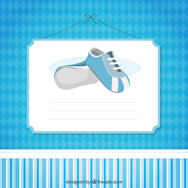 Blue Baby Shower Card Template Vector | Free Download