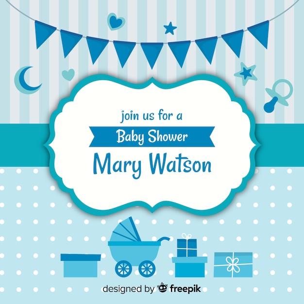 Blue baby shower design for boy Free Vector