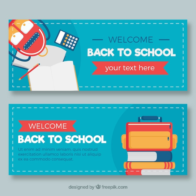 Blue back to school banners in flat design
