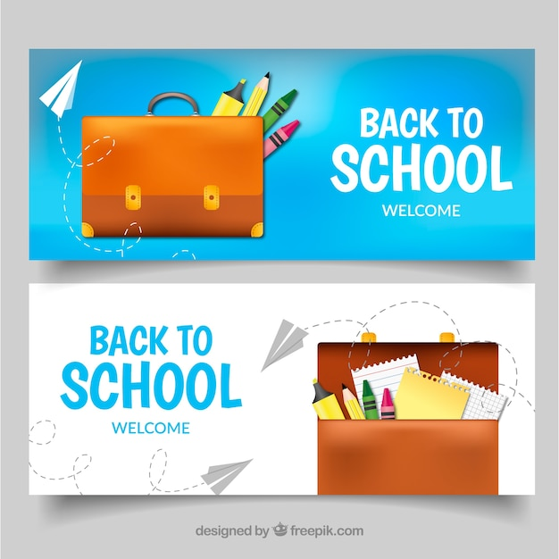 Blue back to school banners with bag