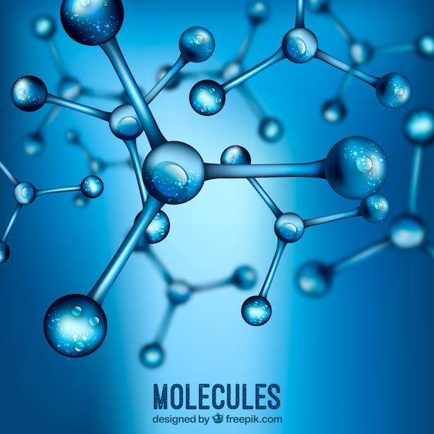 Sfondo blu sfocato molecole realistiche Vettore gratuito