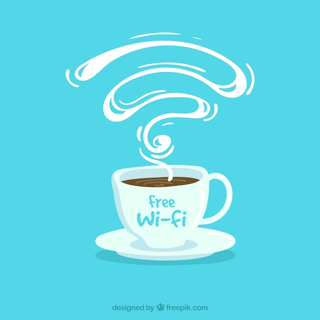 Blue background of coffee shop with free wifi Free Vector