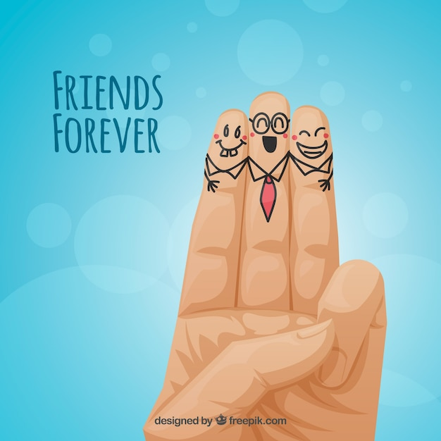Blue background friendship with nice fingers Free Vector