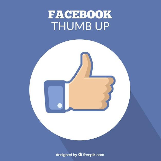 Синий фон с пальцем вверх от facebook Бесплатные векторы