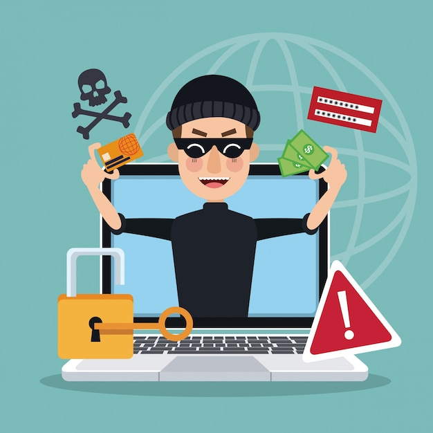 Blue background global world silhouette with laptop and thief man hacker stealing attack Premium Vector