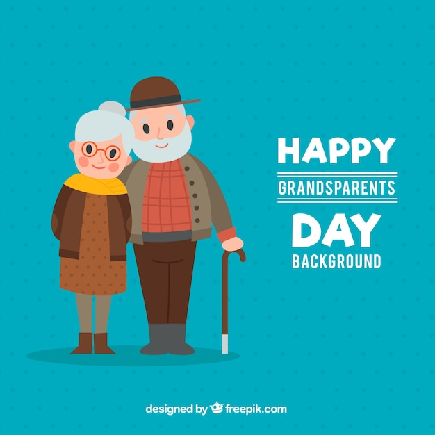 Blue background of happy couple of grandparents Premium Vector