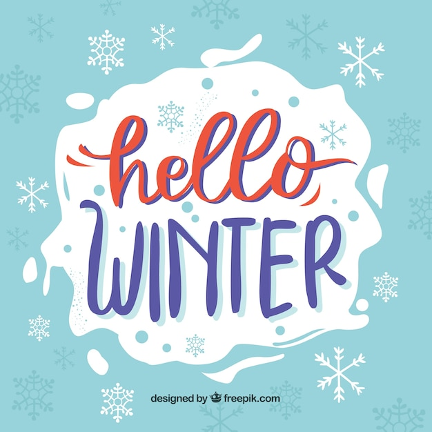 Blue background hello winter with red and purple lettering