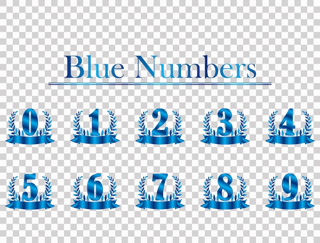 Blue background number isolated from transparent background. Premium Vector