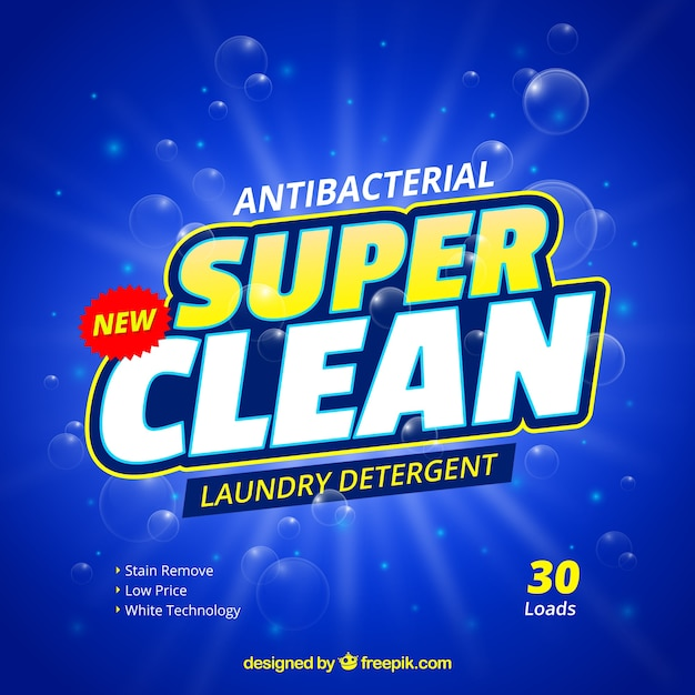 Blue background of antibacterial detergent Free Vector