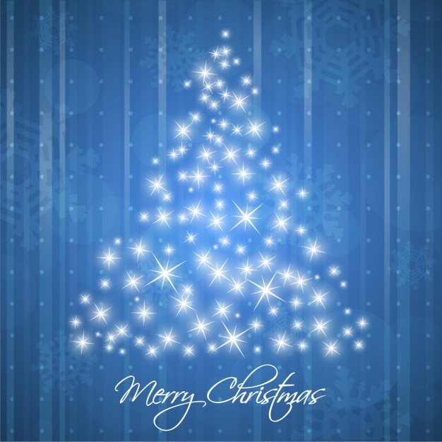 Blue background of christmas tree made of stars Free Vector