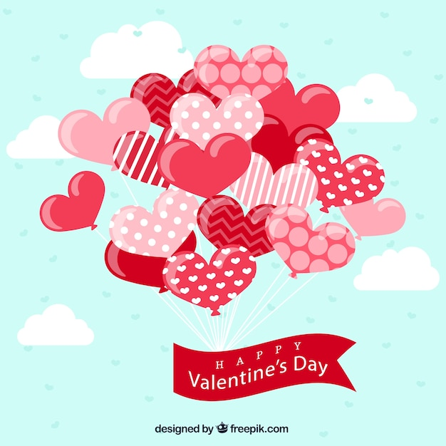 Blue background of decorative balloons with heart-shape Free Vector