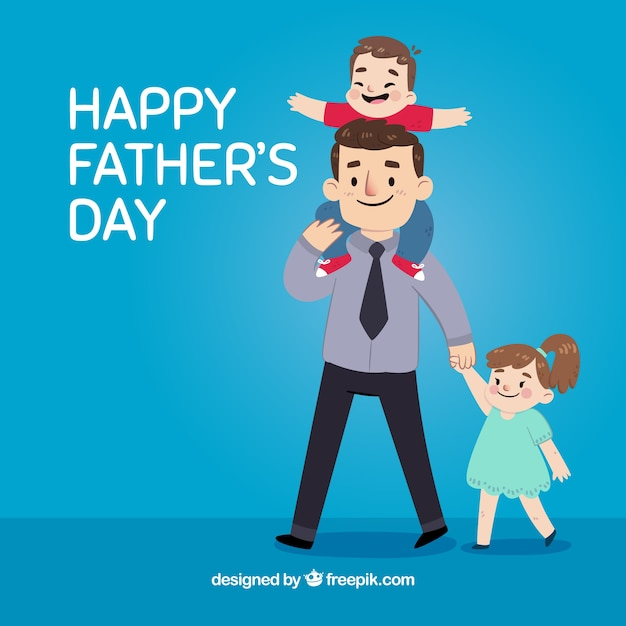 Blue background of father with his lovely children Free Vector