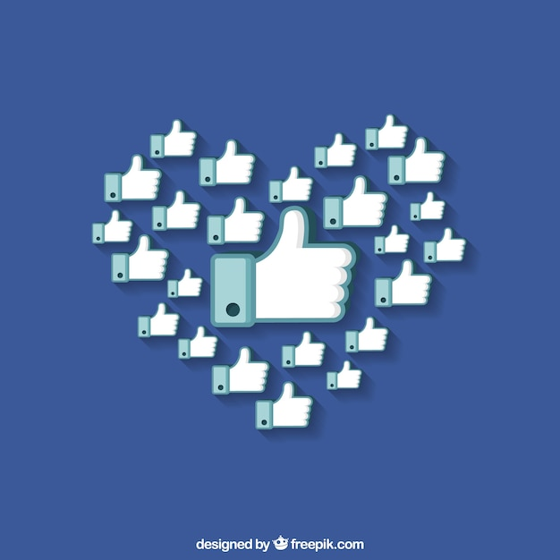 Blue background of hands with thumb up forming a heart