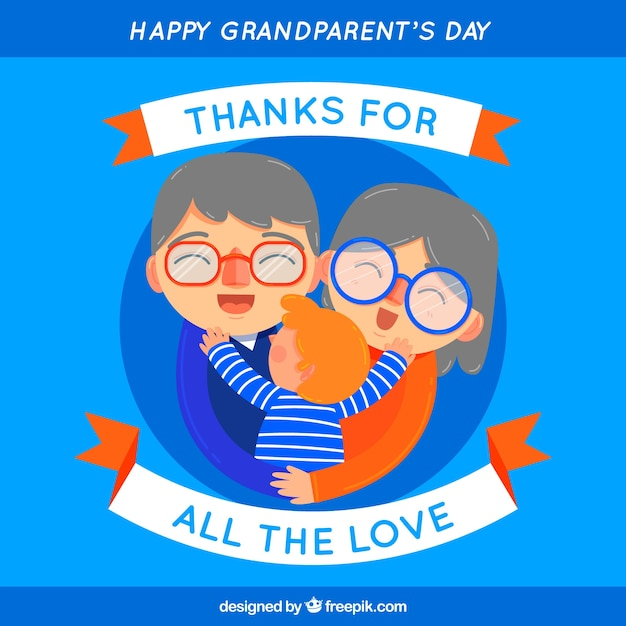 Blue background of happy grandparents embracing their grandson