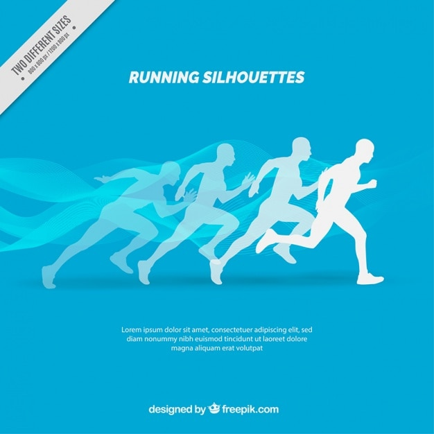 Blue background of silhouettes running Free Vector