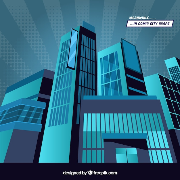 Blue background of skyscrapers in comic style