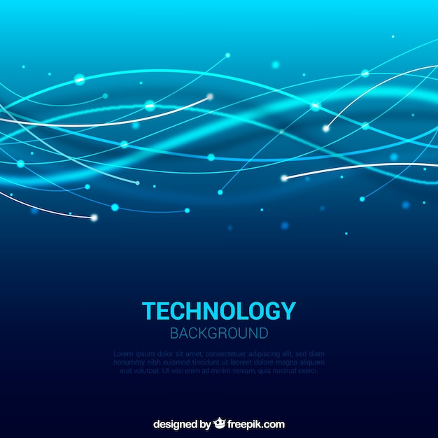 Blue background of technological waves Vector | Free Download