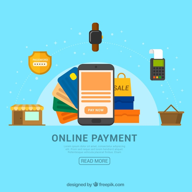 Blue background, online payment items Vector | Free Download
