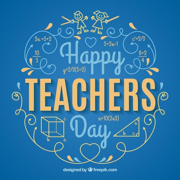 Blue Background, Teacher's Day Vector