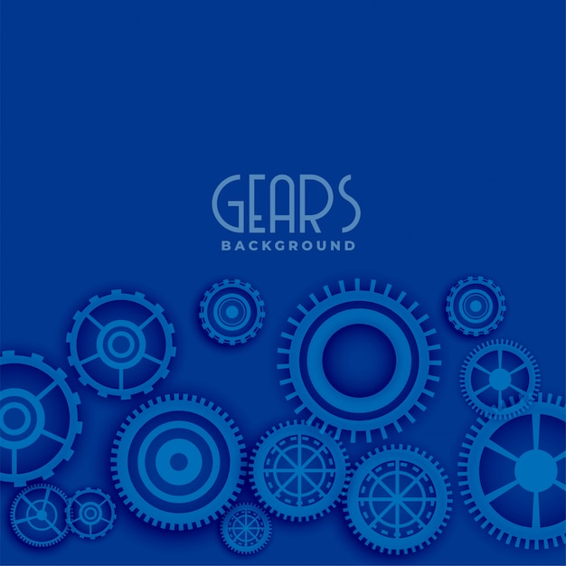 Blue background with 3d gears Free Vector
