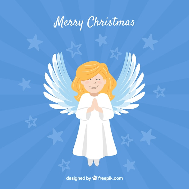 Blue background with a nice christmas angel