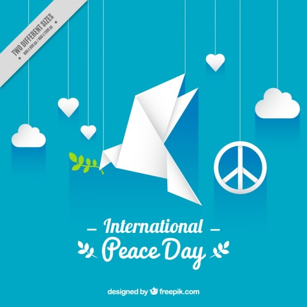 blue background with a origami peace dove vector free