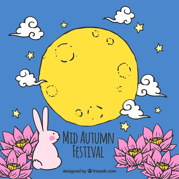 Blue background with a rabbit and a yellow moon, mid autumn festival