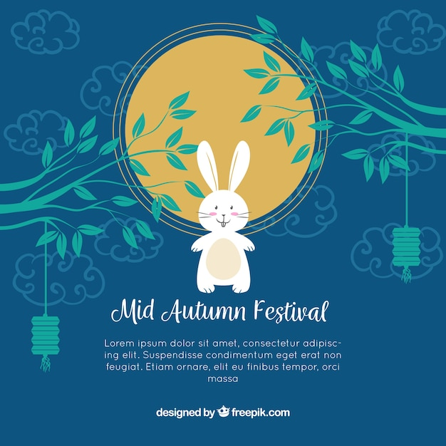 Blue background with a rabbit, mid autumn festival