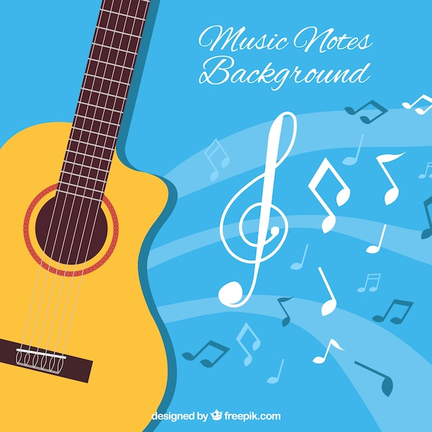 Blue Background With Acoustic Guitar And Musical Notes Vector Free