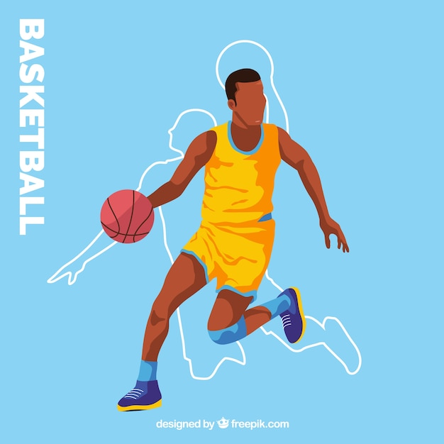 Blue background with basketball player