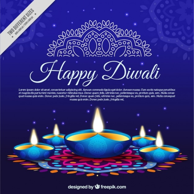 Blue background with candles diwali Free Vector